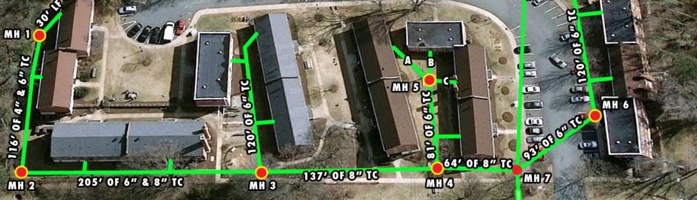 Pipe line diagram for UVA sewer repair project