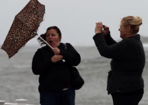Hurricane Sandy Causing an umbrella to flip up