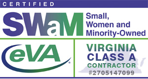 Certified Small Women and Minority Owned, Member EVA, Class A Contractor Logos